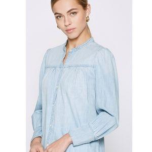 Joie Aubrielle Silk Cotton Chambray Top